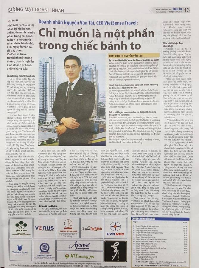 Chân dung Giám đốc VietSense Travel trên Báo Đầu Tư - Ảnh 1