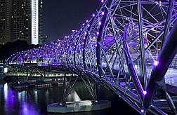 Cầu Helix Bridge lung linh dưới ánh đèn