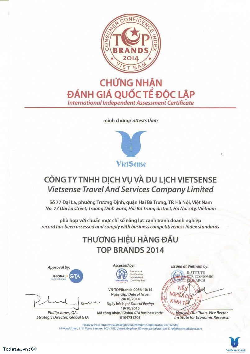 Vietsense Travel được chứng nhận Thương hiệu hàng đầu 2014 - Ảnh 1